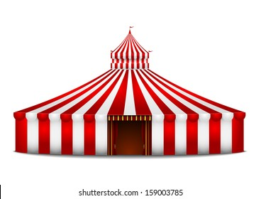 detailed illustration of a red and white circus tent