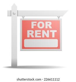 detailed illustration of a For Rent real estate sign, eps10 vector