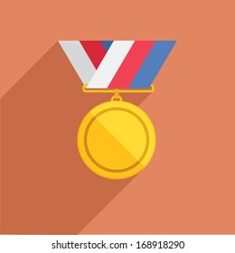 detailed illustration of a retro flat style medal with ribbon eps10