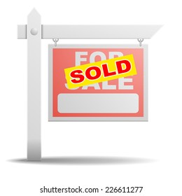 detailed illustration of a For Sale real estate sign with a yellow Sold sticker on it, eps10 vector