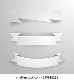 detailed illustration of a set of white paper ribbons and banners