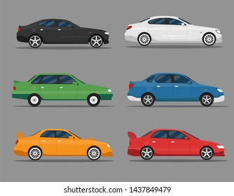 Detailed illustration of six colored cars in a flat style. Car icon set. Muscle, premium, vintage auto