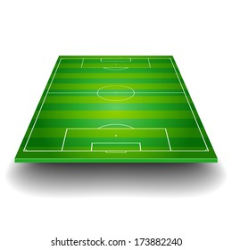 detailed illustration of a soccer field with front perspective, eps10 vector
