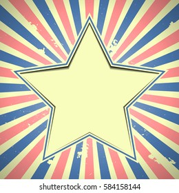 detailed illustration of a star over a grungy patriotic striped background, eps 10 vector