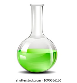 detailed illustration of a testing flask used for chemistry experiments, eps10 vector