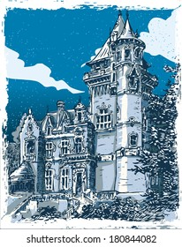 Detailed Illustration of a Vintage Hand Drawn View of Old Castle in Belgium