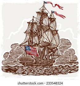 Detailed illustration of a Vintage Page with American Vessel on Seas