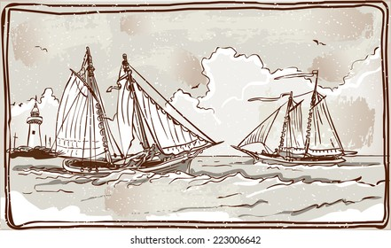 Detailed Illustration of a Vintage View of Sailing Ships on the Sea