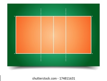 detailed illustration of a volleyball court, eps10 vector