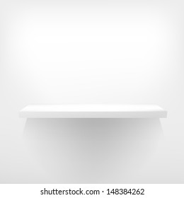 Detailed illustration of white shelves with light from the top. EPS 10