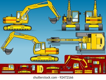 Detailed illustration of a yellow excavator  in five orthogonal position.
