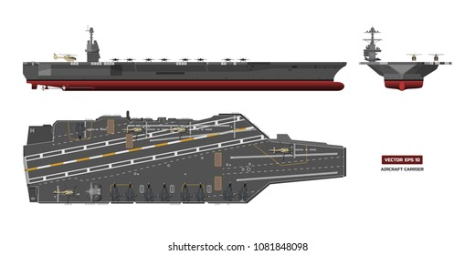 Detailed image of aircraft carrier. Military ship. Top, front and side view. Battleship model. Industrial drawing. Warship in flat style. Vector illustration