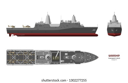Detailed image of military ship. Top, front and side view. Battleship 3d model. Industrial isolated drawing of USS boat. Warship in realistic style. Vector illustration