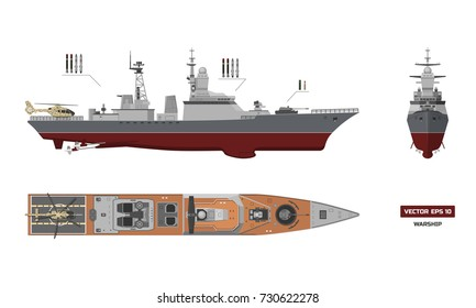Detailed image of military ship. Top, front and side view. Battleship model. Industrial drawing. Warship in flat style. Vector illustration