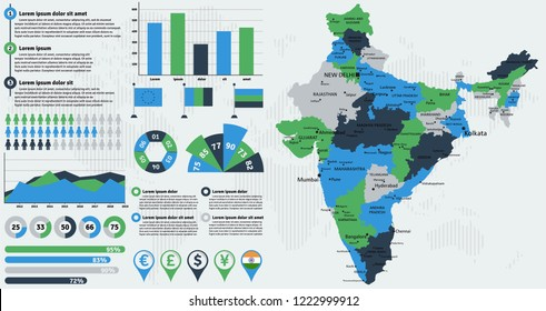 Detailed India map with infographic elements. Vector illustration.