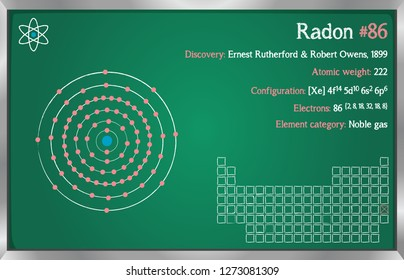 Detailed infographic of the element of Radon.