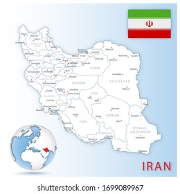 Detailed Iran administrative map with country flag and location on a blue globe. Vector illustration