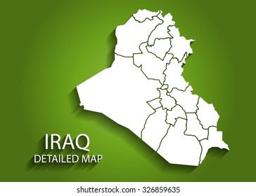 Detailed IRAQ Map on Green Background with Shadows