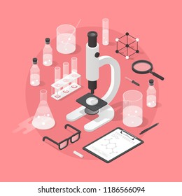 Detailed isometric illustration of chemical laboratory equipment. Set of various test tubes, flask, jars and bottles with liquid, dropper, microscope, support stand, magnifier and other tools.