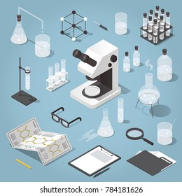 Detailed isometric illustration of chemical laboratory equipment. Set of various test tubes, flask, jars and bottles with liquid, dropper, microscope, support stand, magnifier and other attributes.