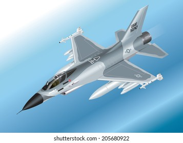 Detailed Isometric Vector Illustration of an F-16 Fighter Jet Airborne