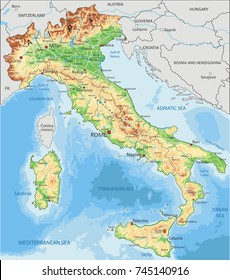Detailed Italy physical map.