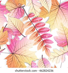 Detailed leaves seamless background. EPS 10 vector file included