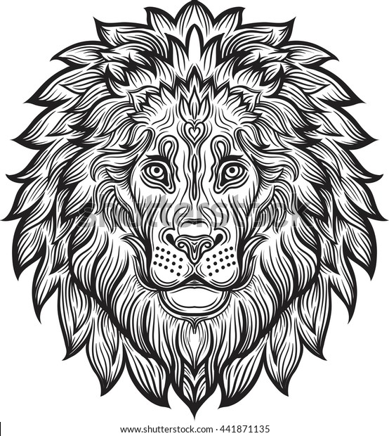 Detailed Lion In Aztec Filigree Line Art Zentangle Style Tattoo Coloring Page For Adult T Shirt Animals Design Zodiac Leo Tribal Decorative Wool Pattern Vector