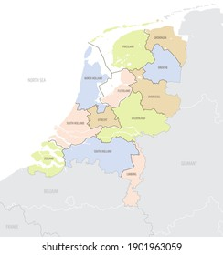Detailed location map of the Netherlands in Europe with administrative divisions of the country, vector illustration