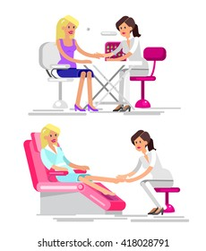 Detailed Manicurist character makes a professional manicure and pedicure beautiful blond woman.  Web banner template  for beauty saloon isolated on white background.