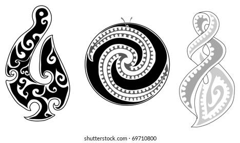 Detailed Maori koru (fern), eternity twist and fish hook
