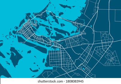 Detailed map of Abu Dhabi city administrative area. Royalty free vector illustration. Cityscape panorama.