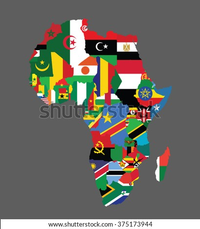Detailed Map Africa All Countries Flags Stock Vector Royalty Free