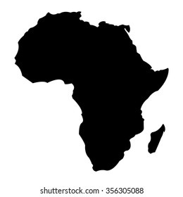 Detailed Map of Africa Continent in Black Silhouette