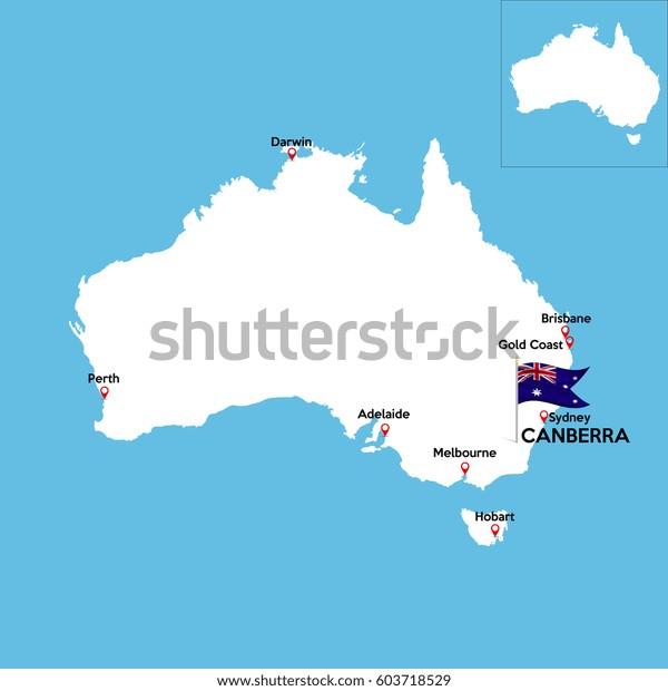 Australia Major Cities Map.Detailed Map Australia Indexes Major Cities Stock Vector Royalty