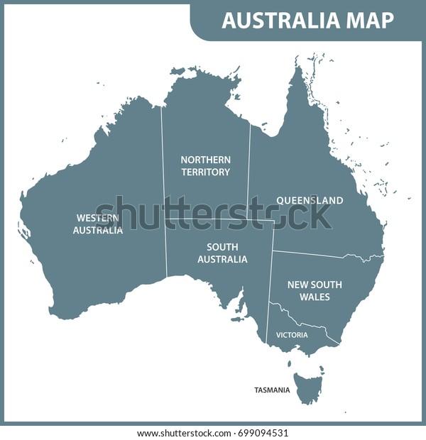 Detailed Map Australia Regions Stock Vector (Royalty Free ...