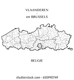 Detailed map of the Belgian Regions of Flanders and Brussels-Capital (Belgium) with borders of municipalities, districts, provinces, and regions. Vector illustration