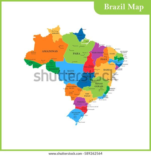 Det Detaljerede Kort Over Brasilien Med Lagervektor Royaltyfri