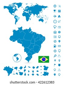Brazil map images stock photos vectors shutterstock detailed map of brazil and world map navigation set vector illustration gumiabroncs Images