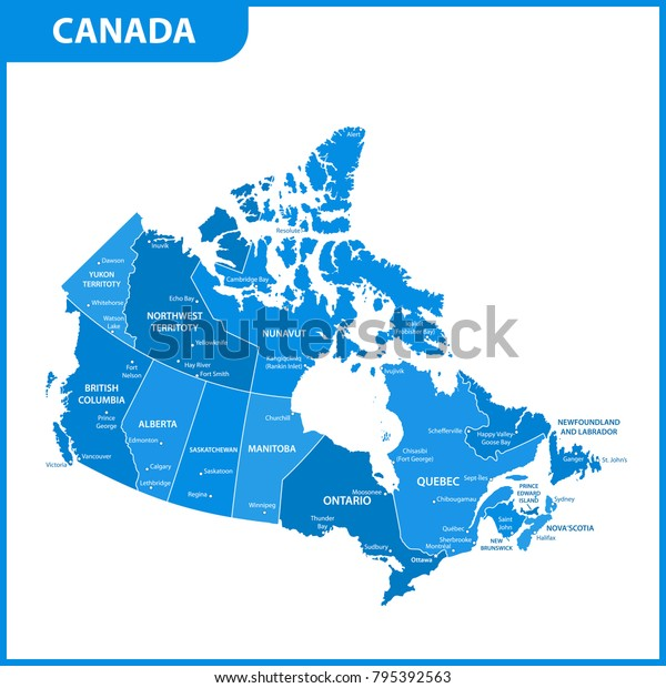 Detailed Map Canada Regions States Cities Stock-Vrgrafik ... on