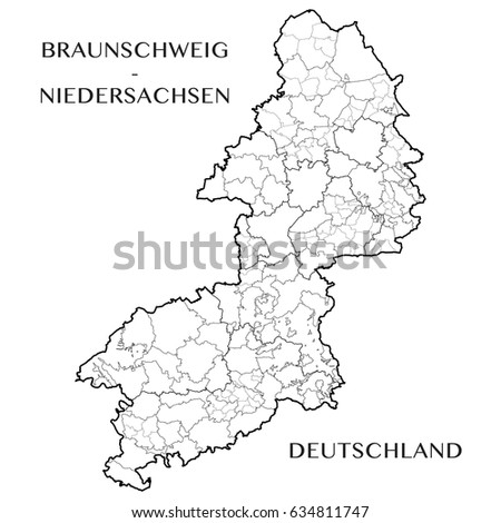 Lower Saxony Germany Map.Detailed Map District Brunswick Lower Saxony Stock Vector Royalty