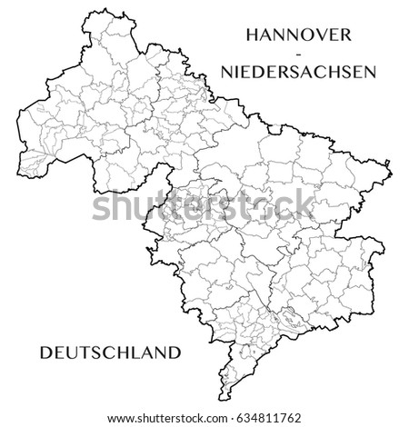 Lower Saxony Germany Map.Detailed Map District Hanover Lower Saxony Stock Vector Royalty