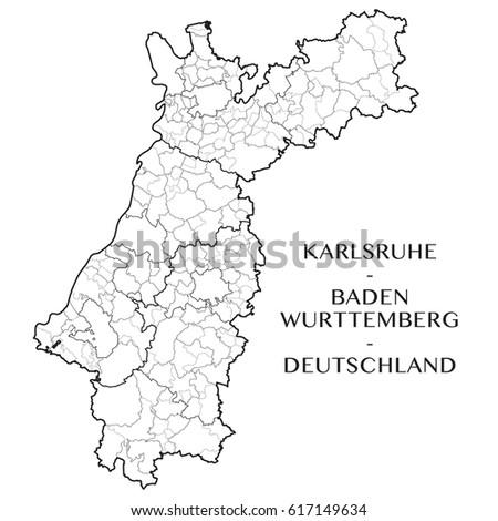 Map Of Germany Karlsruhe Baden.Detailed Map District Karlsruhe District Baden Wurttemberg Stock