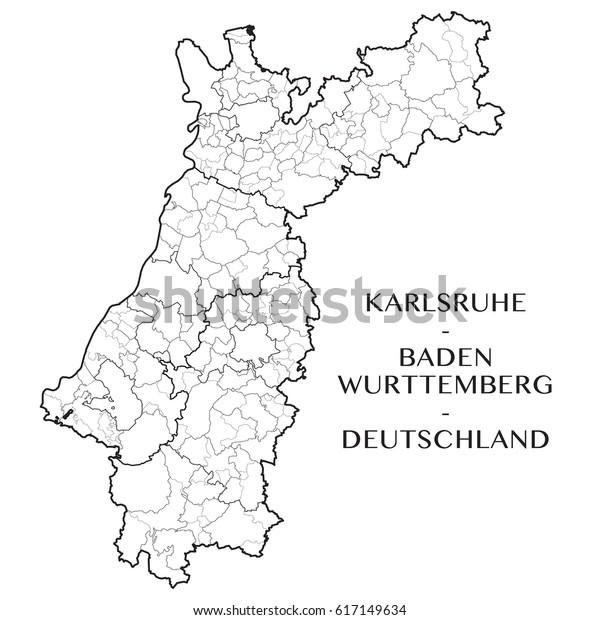 Map Of Germany Karlsruhe Baden.Detailed Map District Karlsruhe District Badenwurttemberg Stock