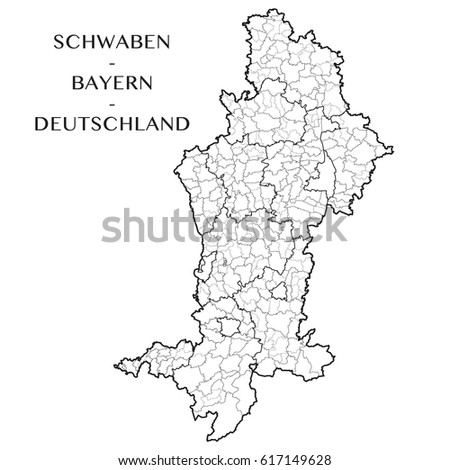 Detailed Map District Swabia Bavaria Germany Stock Vector Royalty