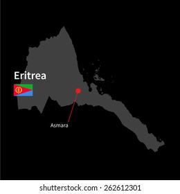 Detailed map of Eritrea and capital city Asmara with flag on black background