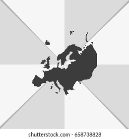 Detailed map of Europe. Flat icon.
