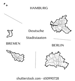 Detailed map of the Federal City States of Berlin, Hamburg, and Bremen (Germany) with borders of boroughs, municipalities, districts, and states. Vector illustration