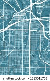 Detailed map of Fort Worth city administrative area. Royalty free vector illustration. Cityscape panorama. Decorative graphic tourist map of Fort Worth territory.