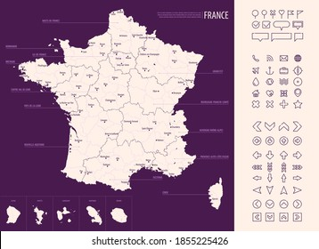 Detailed map of France with administrative divisions on a dark background, big cities of the country and icons set, vector illustration